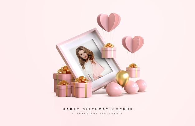 Alles gute zum geburtstag in rosa und gold