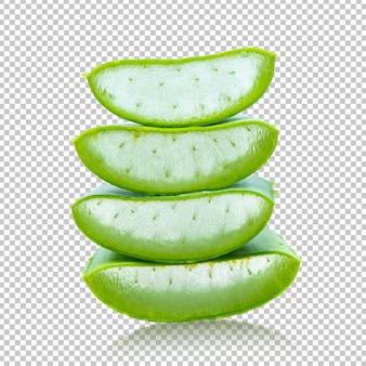 Aloe vera geschnitten auf lokalisierter transparenz. kräuter
