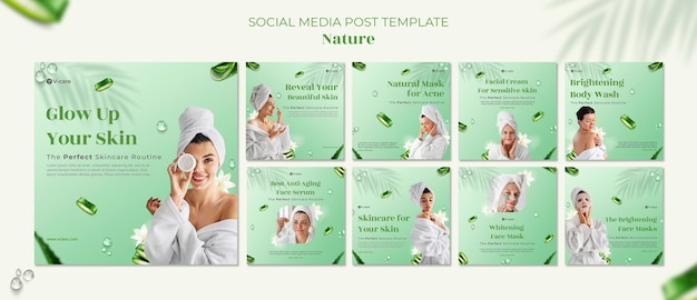 Aloe vera naturkosmetik social media post template design