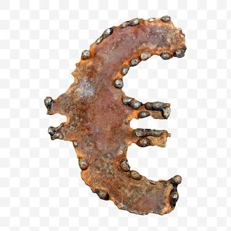 Alphabet euro-währungszeichen aus verschweißtem rostigem blech isoliert pds-datei