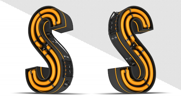 Alphabet neonlicht 3d rendering