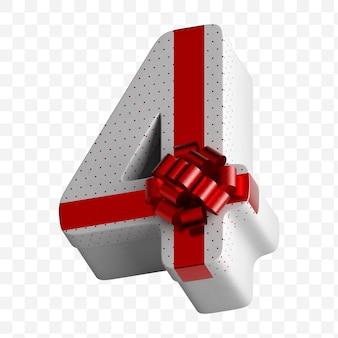 Alphabet nummer geschenkbox in weißbuch verpackt mit luxuriöser roter schleife isoliert auf weißem hintergrund