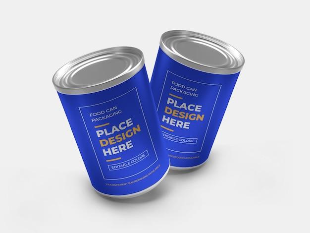 Aluminium food can packaging mockup