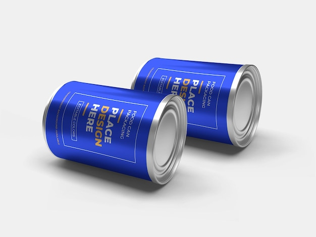 Aluminium food can packaging mockup