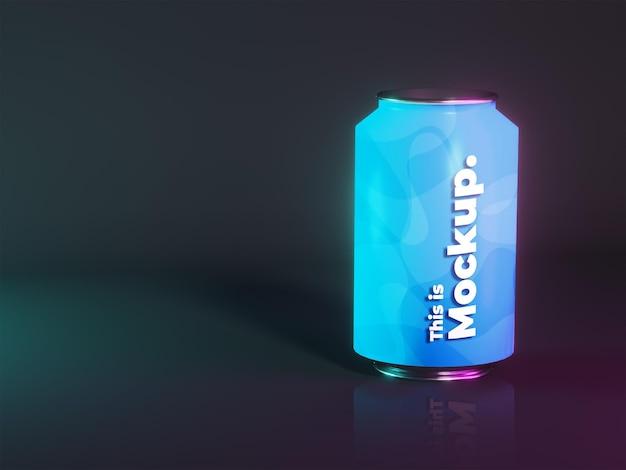 Alumunium-dosen-mockup-verpackung mit transparenz-schatten