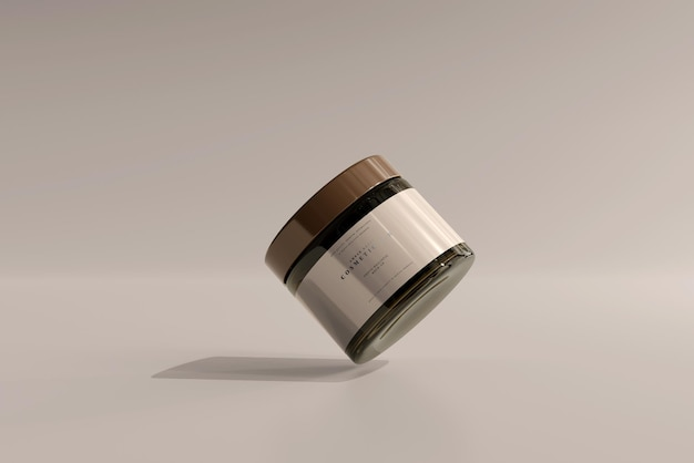 Amber glass cosmetic jar mockup