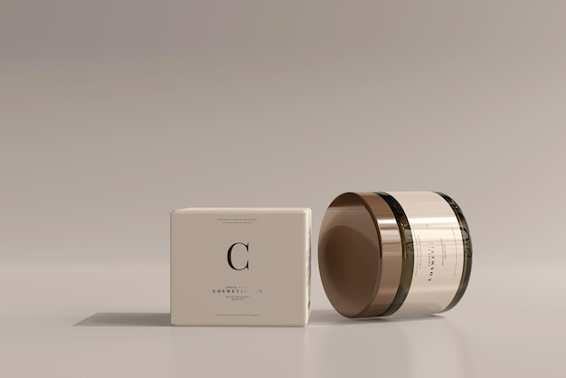 Amber glass cosmetic jar und box mockup