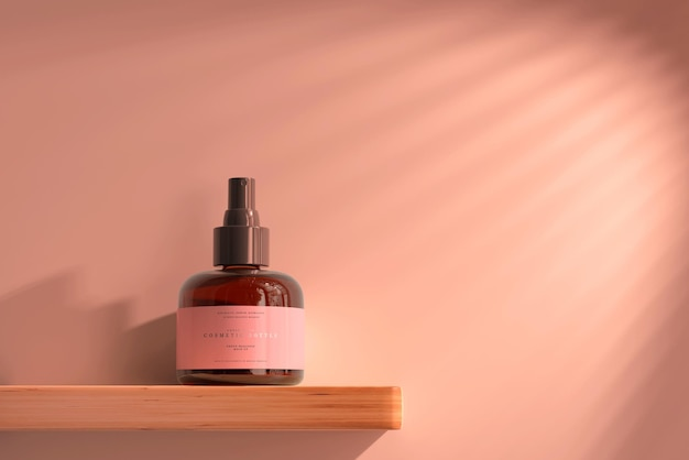 Amber glass cosmetic spray bottle mockup
