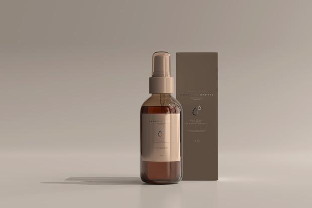 Amber glass cosmetic sprühflasche mit box mockup