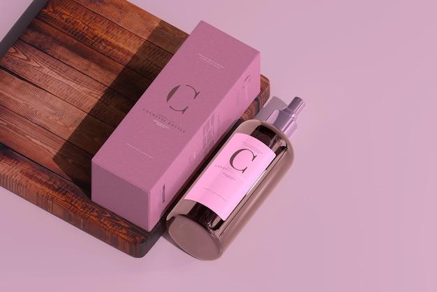 Amber glass cosmetic sprühflasche und box mockup