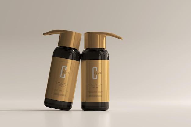 Amber glass pump bottle mockup