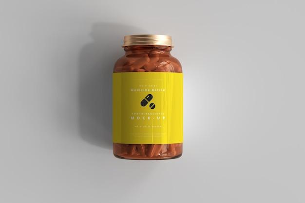 Amber medicine bottle mockup