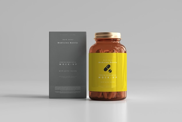 Amber medicine bottle und box mockup