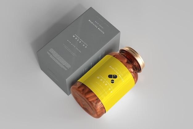 Amber medicine bottle und box mockup