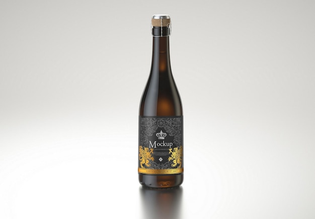 Amber wine bottle mockup design