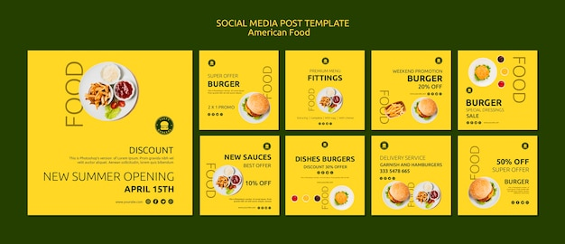American food social media post vorlage