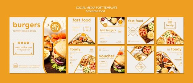 American food social media post vorlage