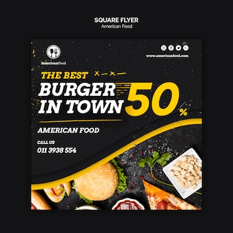 American food square flyer
