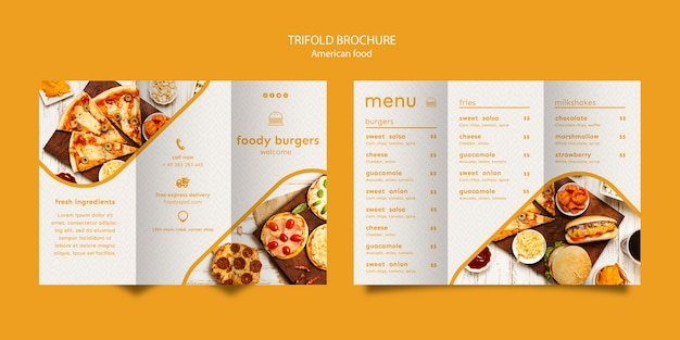 American food trifold broschüre vorlage