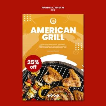 Amerikanische grill- und grillhaus-flyer-vorlage