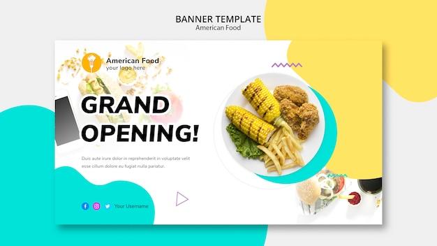Amerikanisches essen des bannerdesigns