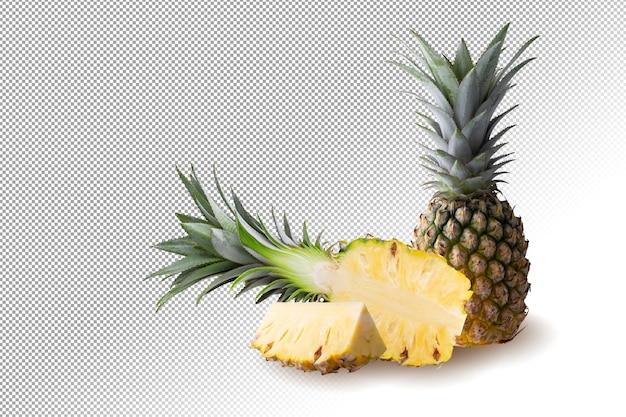 Ananasfrucht und ananasscheiben isoliert