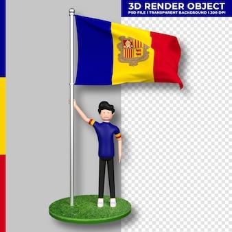 Andorra-flagge mit niedlichen menschen-cartoon-figur. tag der unabhängigkeit. 3d-rendering.