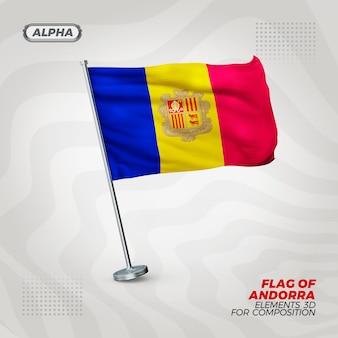 Andorra realistische 3d strukturierte flagge für komposition