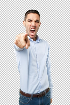 Angry junger mann zeigt