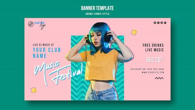 Anime-comic-stil musikfestival banner vorlage