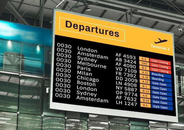 Ankündigungsbildschirmmodell am flughafen