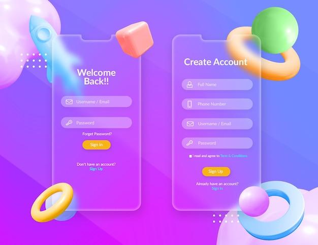 Anmelden und registrieren des benutzeroberflächendesigns mit verschwommenem transparentem glaseffekt