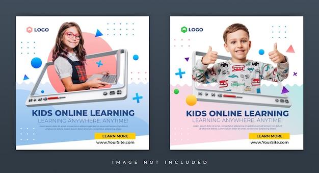 Anmeldung zum online-lernworkshop für kinder instagram-beitragsvorlage für soziale medien