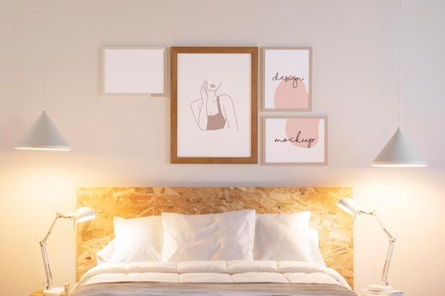 Anordnung der mock-up-rahmen im schlafzimmer
