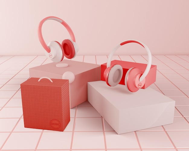 Anordnung mit roten kopfhörern