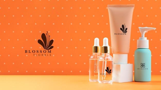 Anordnung von bio-kosmetikprodukten