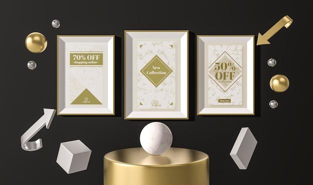 Anordnung von weißen verkaufsrahmen und geometrischen 3d-formen