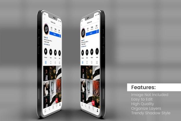 Anpassbare hochwertige zwei smartphone-modelle zur anzeige von instagram-posts und story-vorlagen
