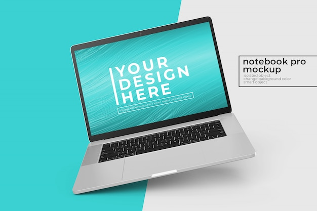 Anpassbares, einfach zu bearbeitendes psd-modell für mobile laptops in links gedrehter position in der linken ansicht