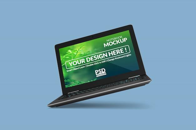 Anpassbares realistisches laptop-modelldesign in schwebender ansicht