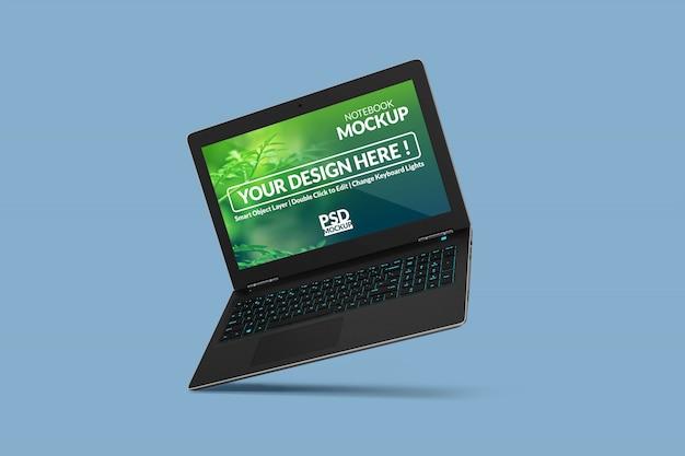 Anpassbares realistisches notebook-modelldesign in schwebender ansicht