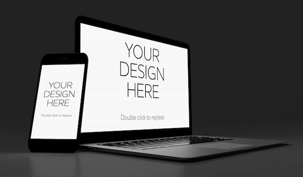Ansicht eines modells von smartphone und von laptop