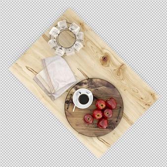 Apfelkaffee und gläser 3d übertragen