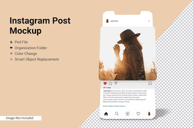 App-bildschirm instagram post mockup isoliert