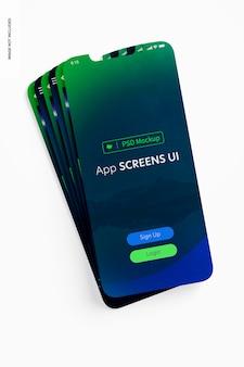 App-bildschirme ui-mockup, gestapelt