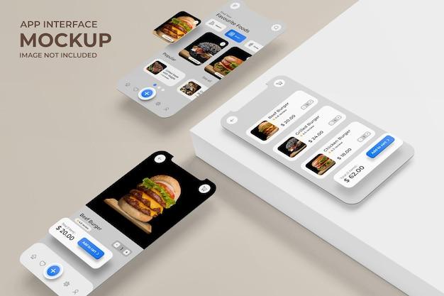 App-schnittstelle mit anzeige der essenslieferung auf dem telefonbildschirmmodell premium psd