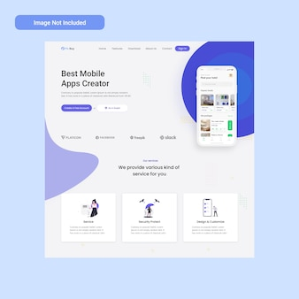 Apps creator web landing page