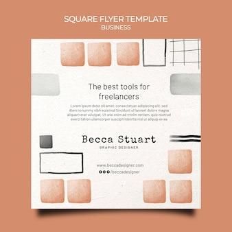 Aquarell business-quadrat-flyer-vorlage