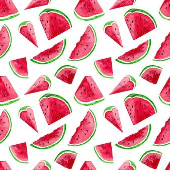 Aquarell endloses muster mit wassermelonen