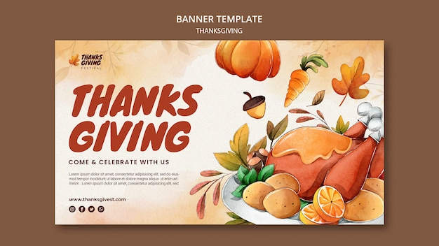Aquarell thanksgiving horizontale bannervorlage
